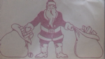 "Santa & sacks red large sticker Christmas window decoration 10"" - 25 cm"